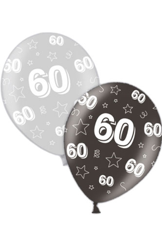 "11"" 60th Birthday Silver And Black Latex Balloons 25pk"