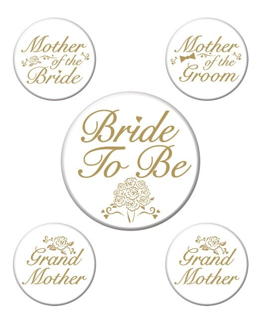 Bridal Party Buttons 5pk
