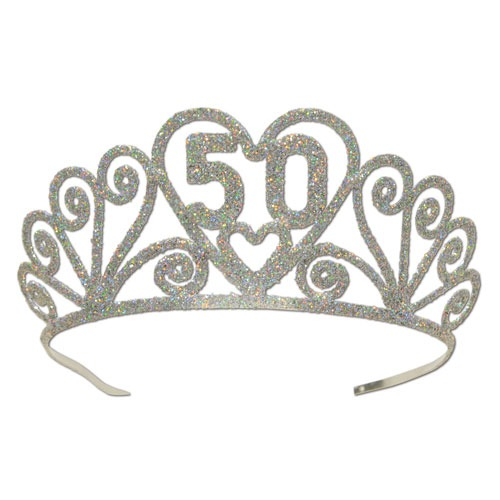 50th Birthday Glitter Tiaras