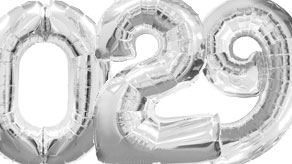 Silver Numbers Balloons