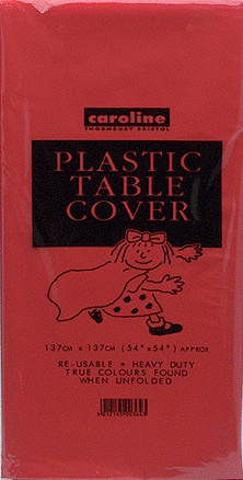 Red Plastic Tablecover 12pk