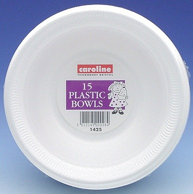 8oz White Plastic Bowls 6 pks Of 15