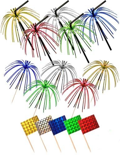 Multi Coloured Foil Picks Straws And Flags x36