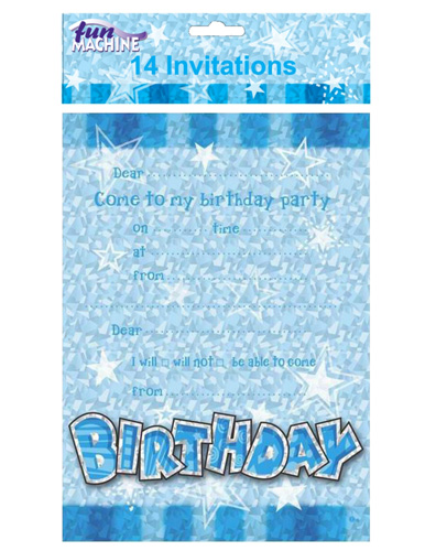 Happy Birthday Blue Glam Invitations x14