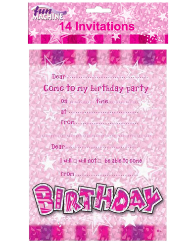 Happy Birthday Pink Glam Invitations x14