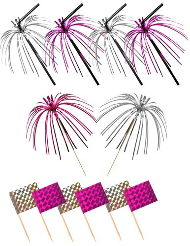 Pink And Silver Foil Picks Straws And Flags x36