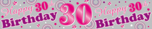 30th Birthday Female Holographic Extra Wide Banner