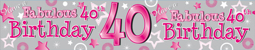 40th Birthday Female Holographic Extra Wide Banner