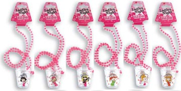 Hen Night Shot Glasses on Chain (assorted)