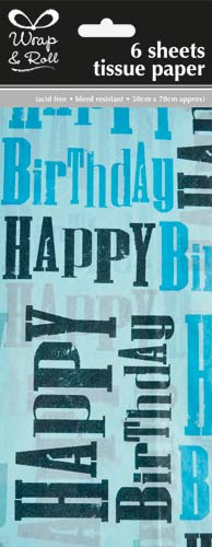 Blue Birthday Tissue Paper x6 Sheets
