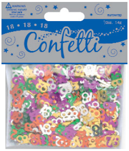 Age 18 Metallic Assorted Confetti