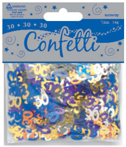 Age 30 Metallic Assorted Coloured Confetti