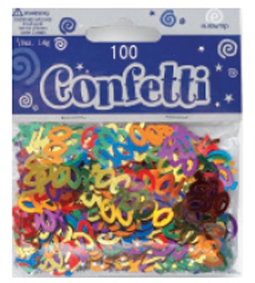 Age 100 Metallic Assorted Confetti