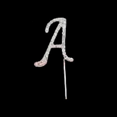 Silver Diamante Pick Letter A