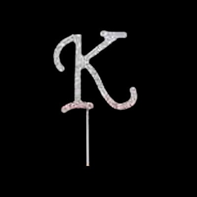 Silver Diamante Pick Letter K
