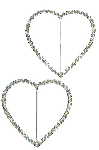 Silver Diamante Heart Shape Buckle x3