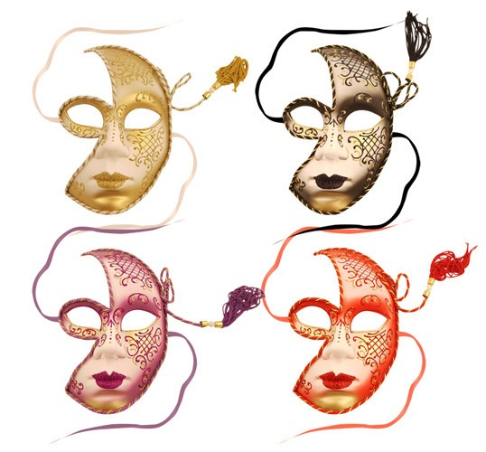 Venetian Half Face Mask With Tassel x1
