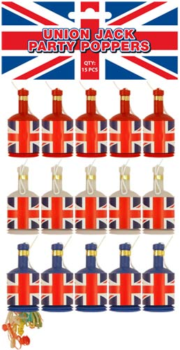Union Jack Party Poppers x15