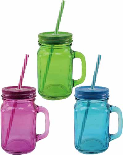 Assorted Glass Drinking Jars