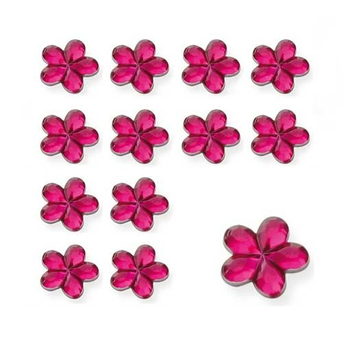 Cerise Flower Shaped Diamantes
