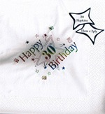 30th Birthday Foil Print Napkins x 15