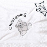 Large Christening Bear Napkins x 15