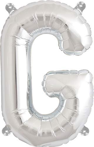 "16"" Letter G Silver Air Filled Balloons"