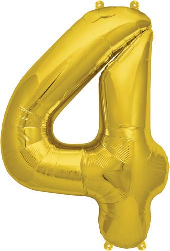 "16"" Number 4 Gold Air Filled Balloons"