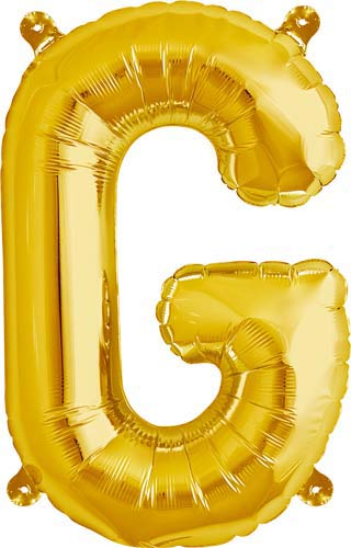 "16"" Letter G Gold Air Filled Balloons"