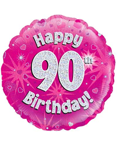 18 Happy 90th Birthday Pink Holographic Balloons