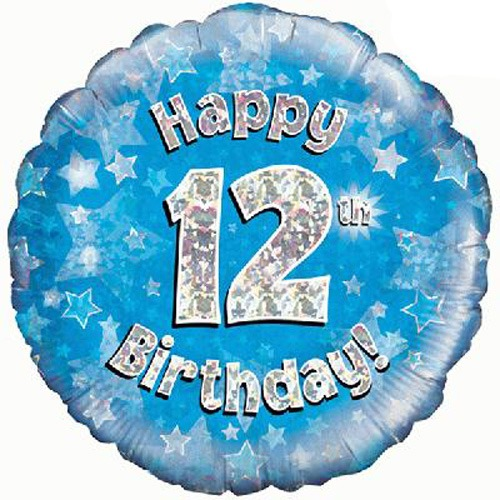 "18"" Happy 12th Birthday Blue Holographic Balloons"