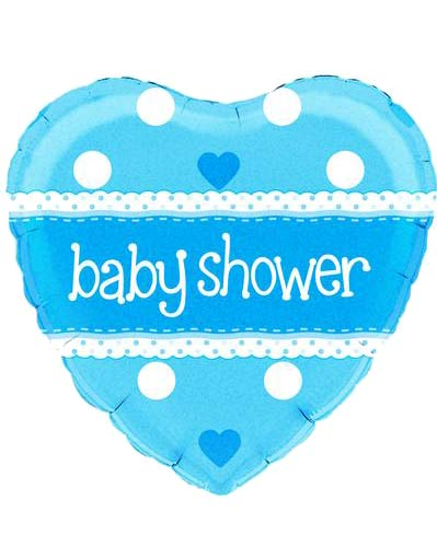 "18"" Baby Shower Heart Blue Holographic Foil Balloons"