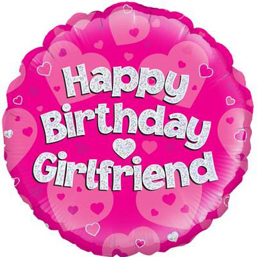 "18"" Happy Birthday Girlfriend Pink Holographic Foil Balloons"