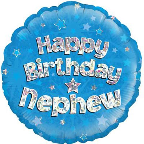 "18"" Happy Birthday Nephew Blue Holographic Foil Balloons"