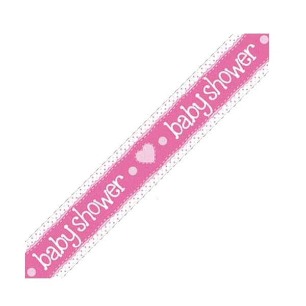 Baby Shower Pink Holographic Dots Banner