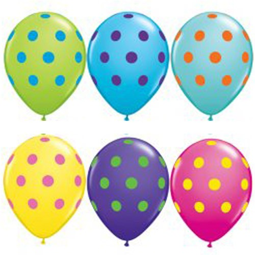 "11"" Big Polka Dots Colourful Assorted Latex Balloons 50pk"