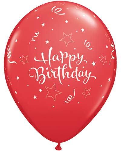 "11"" Happy Birthday Red Shinning Star Latex Balloons 25pk"