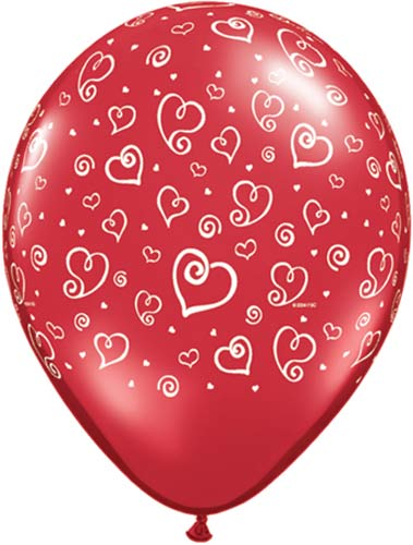 "11"" Ruby Red Swirl Hearts Latex Balloons 50pk"