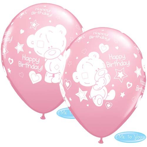 "11"" Pink Tatty Teddy Birthday Latex Balloons 25pk"