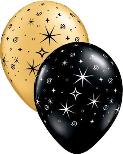 "11"" Gold And Black Sparkles And Swirls Latex Balloons 50pk"