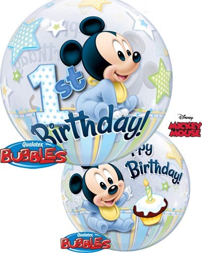 "22"" Mickey Mouse 1st Birthday Single Bubble Balloons"