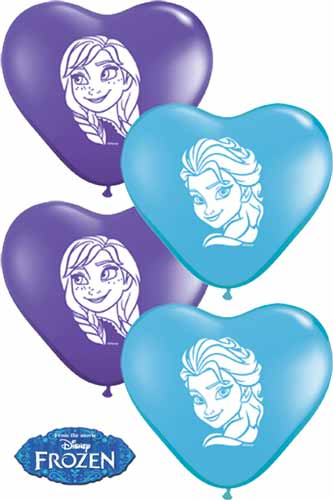 "6"" Anna And Elsa Faces Assorted Heart Latex Balloons 100pk"