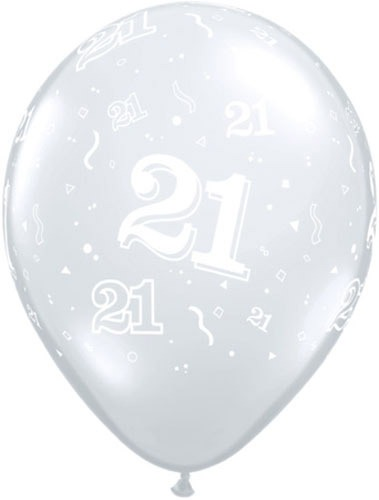 "11"" 21 Around Diamond Clear Latex Balloons 50pk"