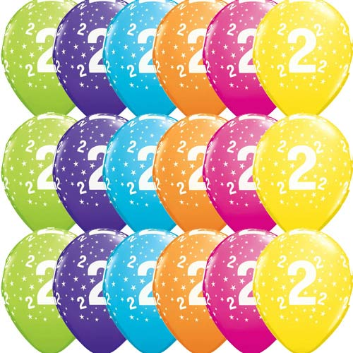 "11"" 2 Stars Tropical Assorted Latex Balloons 50pk"