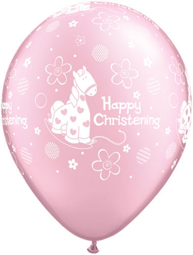 "11"" Soft Pony Pink Christening Latex Balloons 25pk"