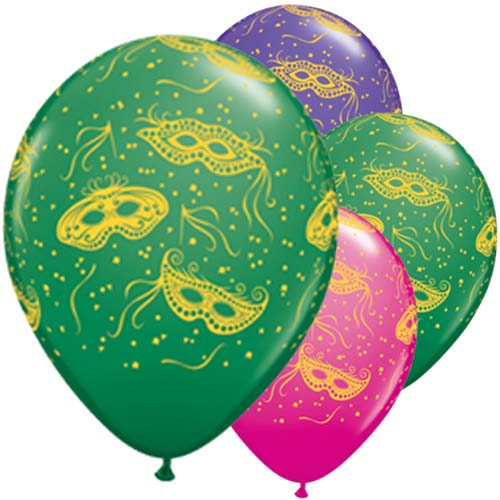 "11"" Mardi Gras Party Latex Balloons 25pk"