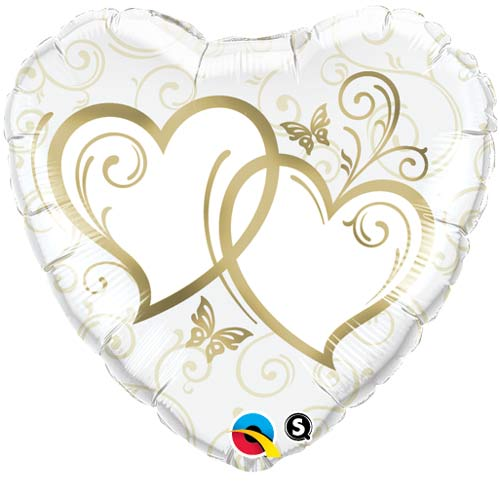 "18"" Entwined Hearts Gold Foil Balloons"