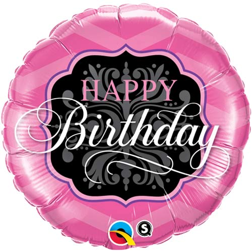 "18"" Happy Birthday Pink And Black Foil Balloons"