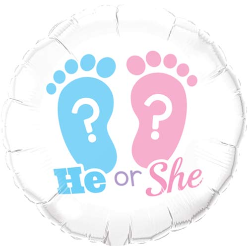 "18"" He Or She Footprints Foil Balloons"
