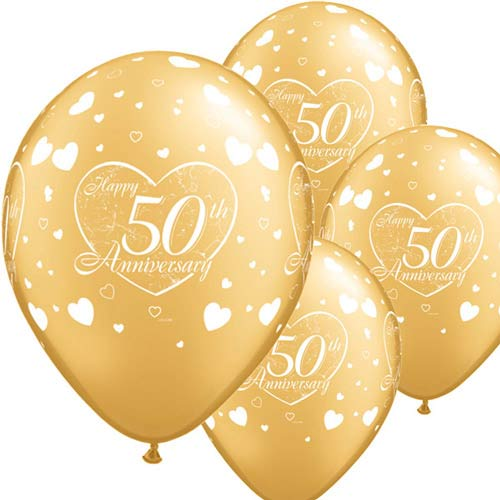 "11"" 50th Anniversary Little Hearts Latex Balloons 6pk"